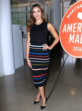 skirt midi skirt stripes striped skirt pumps jessica alba top