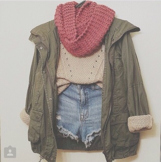 sweater jacket hipster scarf army green jacket fashion fall outfits fall outfits infinity scarf