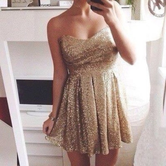 dress ruffles sweetheart neckline sparkles gold sparkly gold sparkles strapless wavy swishy swish swishy bottom wave skater dress