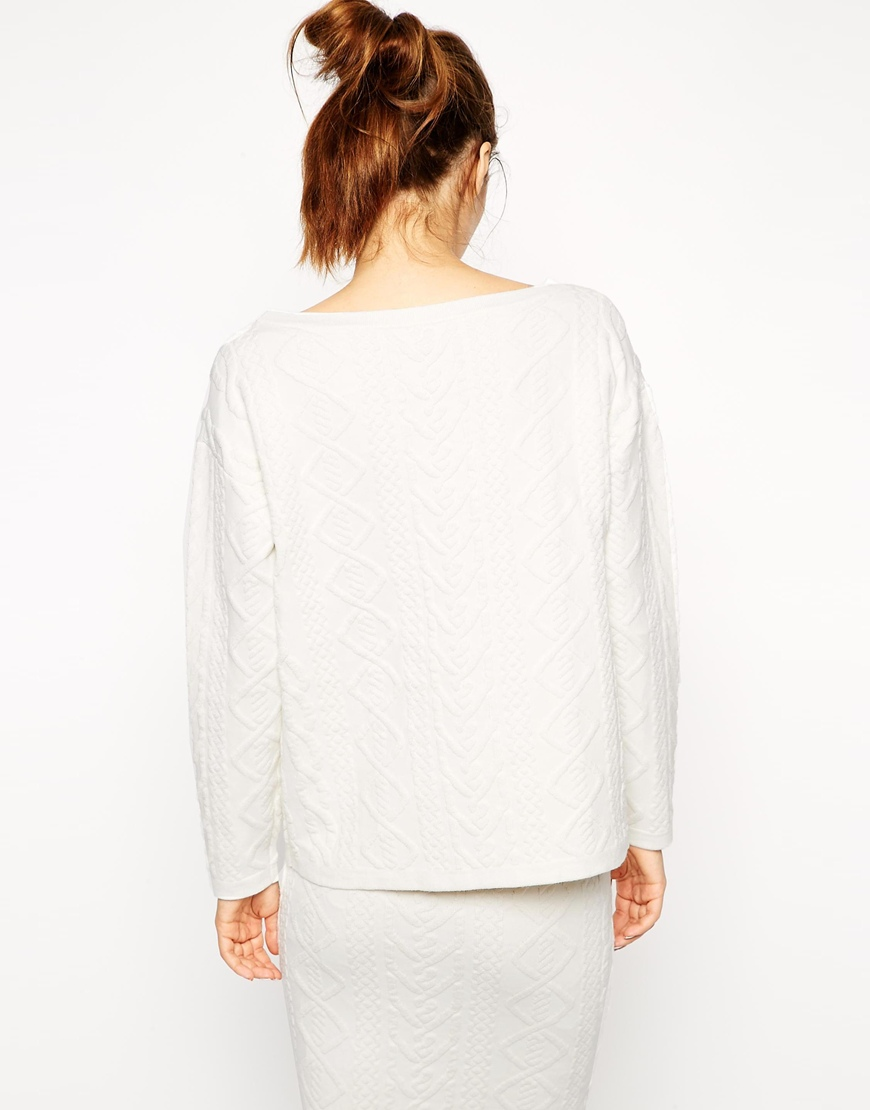 ASOS Co-ord Jumper In Structured Cable Knit at asos.com
