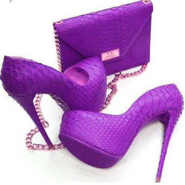 Shoes: heels, bag, purple shoes, purple bag, matching bag & shoes ...