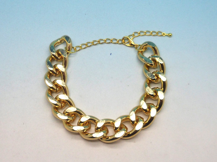 Fashion Charm Punk Rock Golden Shiny Cut Alloy Chunky Curb Chain Bangle Bracelet | eBay