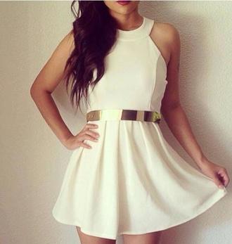 dress perfect white dress belt short white gold belt golden belt off-white