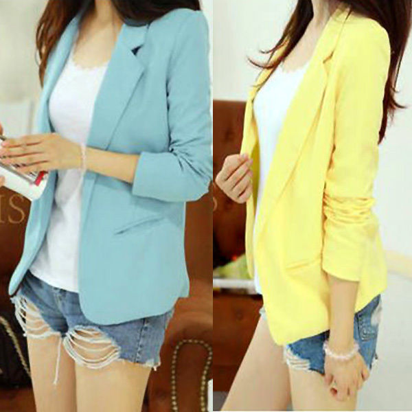 KOREA WOMENS LADIES LONG SLEEVE BLAZER SUIT COATCASUAL LAPEL JACKET basic tops