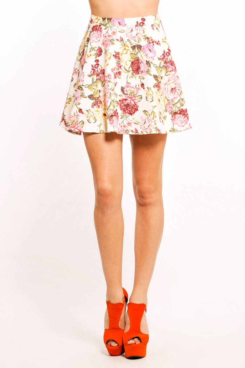 Calise Floral Denim Skater Skirt