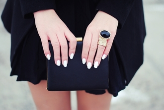 bag black dress all black little black dress engagement ring nails clutch all black everything