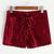 Burgundy Velvet Lace Up Front Shorts -SheIn(Sheinside)