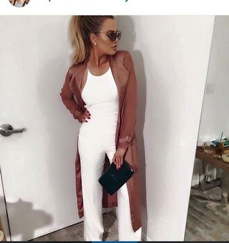 jumpsuit khloe kardashian white white jumpsuit wide leg jumpsuit halter neck jacket coat beige coat narcisco rodriguez kardashians bodycon clubwear celebrity style celebrity keeping up with the kardashians cute sexy outfit classy elegant date outfit romantic summer outfits