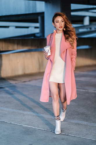 not jess fashion blogger coat sweater dress shoes socks bag pink coat sweater dress ankle boots winter outfits