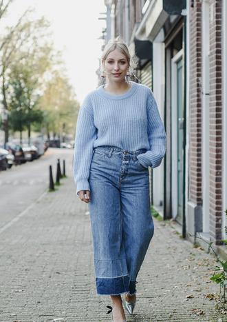 sweater tumblr blue sweater knit knitwear knitted sweater denim jeans denim culottes culottes all blue