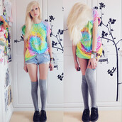 t-shirt,tie dye,socks,shoes,shorts,shirt,tie dye shirt