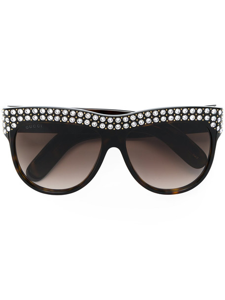 Gucci Eyewear - flat top crystal sunglasses - women - Acetate/Swarovski Crystal - 56, Brown, Acetate/Swarovski Crystal