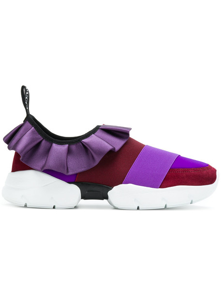 Emilio Pucci ruffle women sneakers leather purple pink shoes