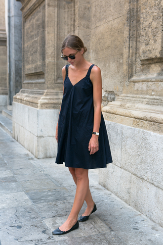 dress tumblr mini dress black dress shoes black shoes flats ballet flats