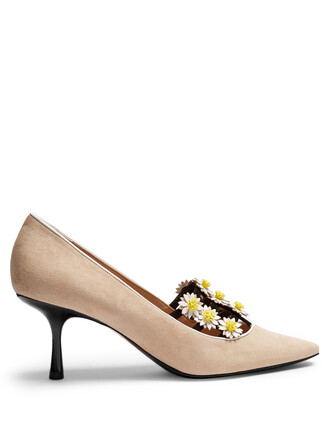 suede pumps daisy embellished pumps suede nude shoes
