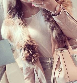 coat pink coat pink fur coat fur coat fashion jacket colorful girls shirt women