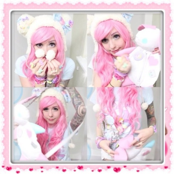 bear hat hat shirt kawaii bunny bag pink wig wig doll bunny bag anime bear cute lovely pink white cream