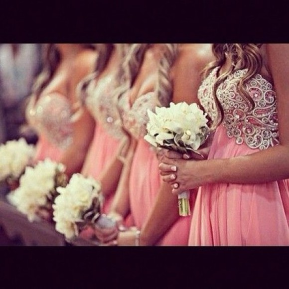 dress pink coral jeweled top elegant bridesmaid dresses