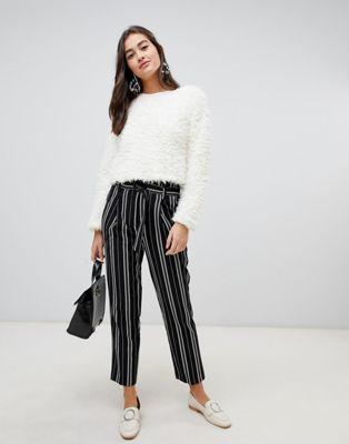New Look stripe trouser in black pattern at asos.com