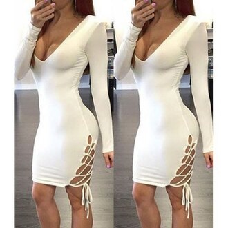 dress strappy white long sleeves sexy trendy hot fashion rose wholesale dec rose wholesale-dec