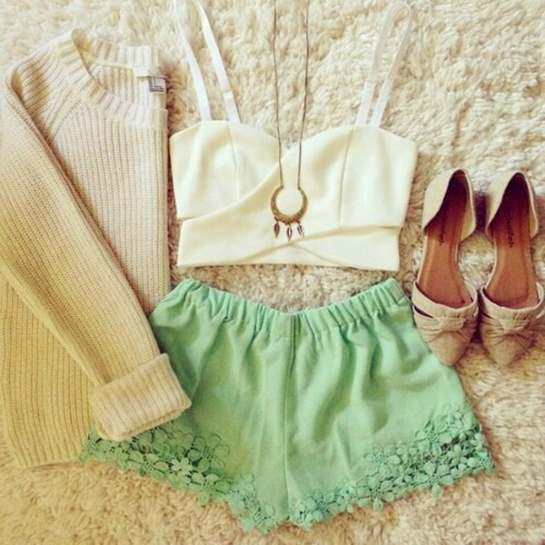 dress top sweater shorts white top