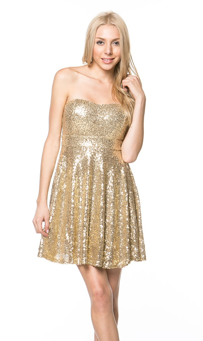 Strapless sequin skater mini dress in gold