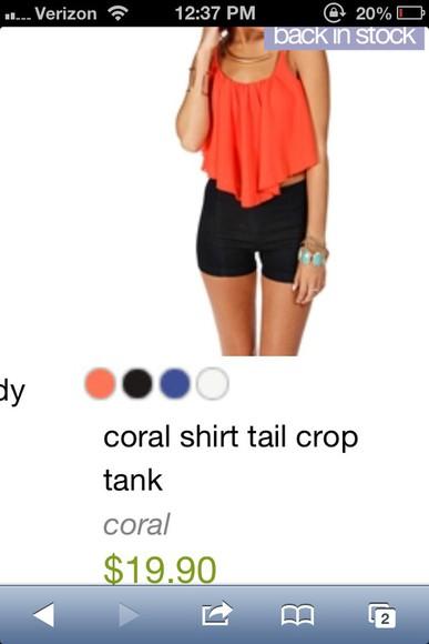 coral shirt crop tops tank top coral shirt blouse tank top.  crop top