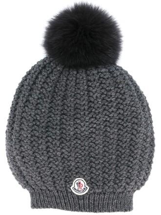fur women beanie pom pom beanie wool grey hat