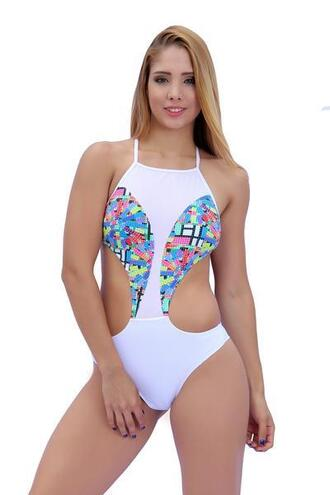 swimwear colorful cheeky cheeky bottom exclusive goldbodychain white