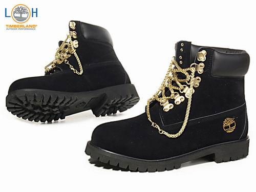 Men Timberland UK 6 Inch Boots Gold Chain Black Uk