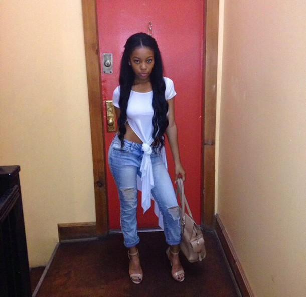 Miraculous Blouse Black Girls Killin It Draped Shirt Beautiful Weave Short Hairstyles For Black Women Fulllsitofus