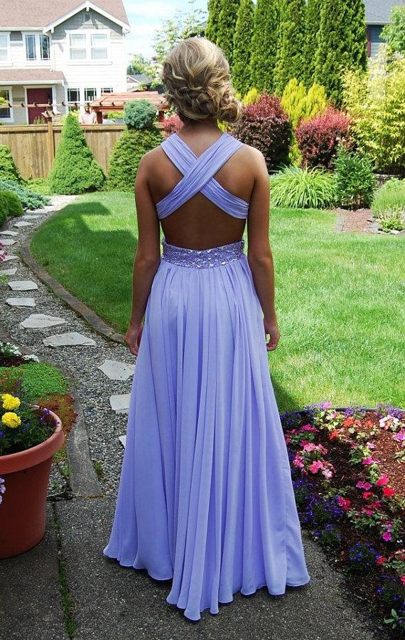 Back floor length lilac prom dress, long dresses for prom