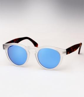 Illesteva Leonard sunglasses - Matte Clear/Havana w/ Blue Mirror
