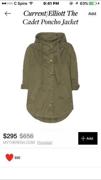 coat jacket rain coat poncho olive green olive green jacket