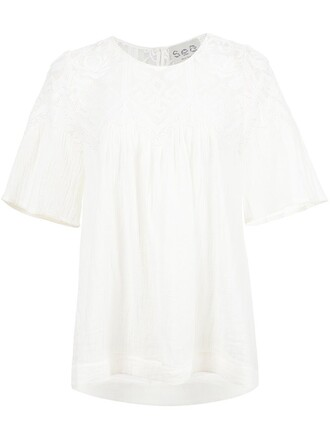 blouse short embroidered white top