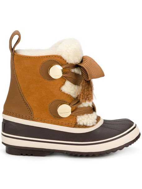 Chloe fur women winter boots suede brown shoes