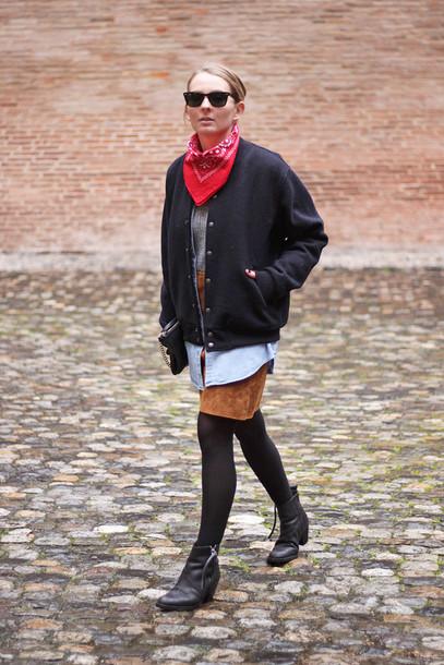 jane's sneak peak blogger skirt baseball jacket bandana leather skirt jacket shirt top shoes bag sunglasses
