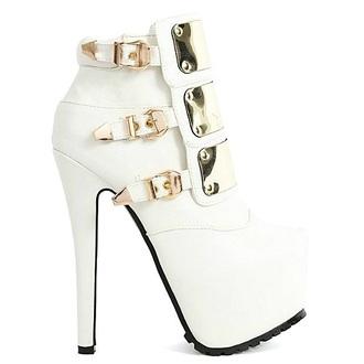 shoes booties bootie heels heels high heels white high heels white heels platform high heels metal plate shoes buckle shoes buckle boots