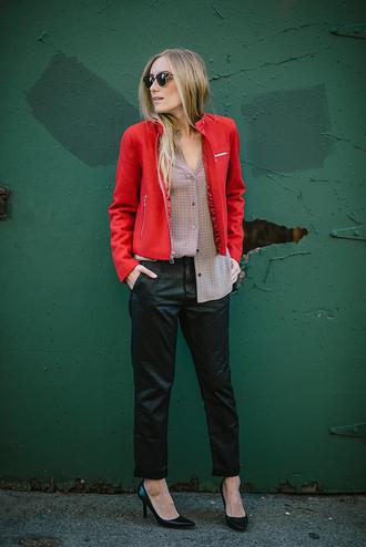 eat sleep wear blogger jacket pants red stilettos blouse