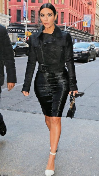 jacket skirt pencil skirt fall outfits kim kardashian