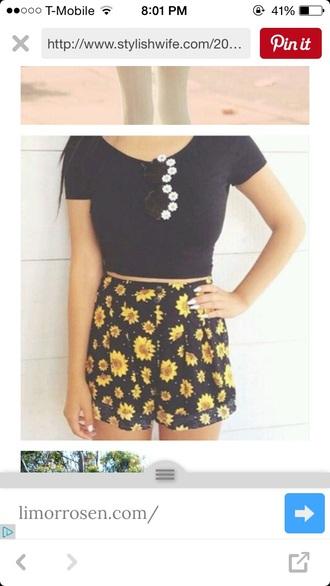 shorts yellow daisy high waisted shorts