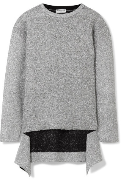 sweater knitted sweater metallic silver