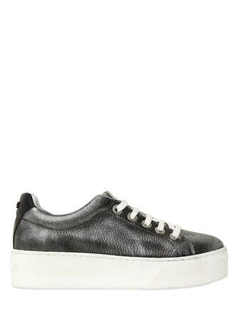 metallic sneakers leather silver black shoes