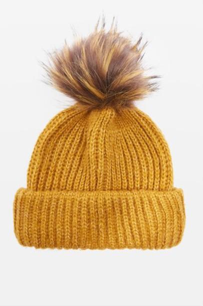 fur faux fur hat beanie pom pom beanie mustard
