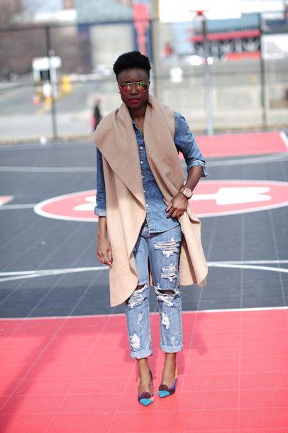 skinny hipster blogger blanket scarf denim shirt ripped jeans
