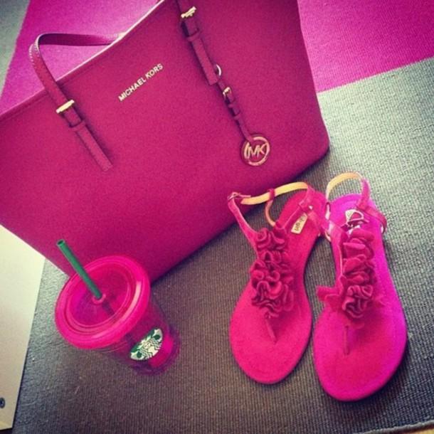 bag pink michael kors shoes pink sandals wheretoget. Black Bedroom Furniture Sets. Home Design Ideas