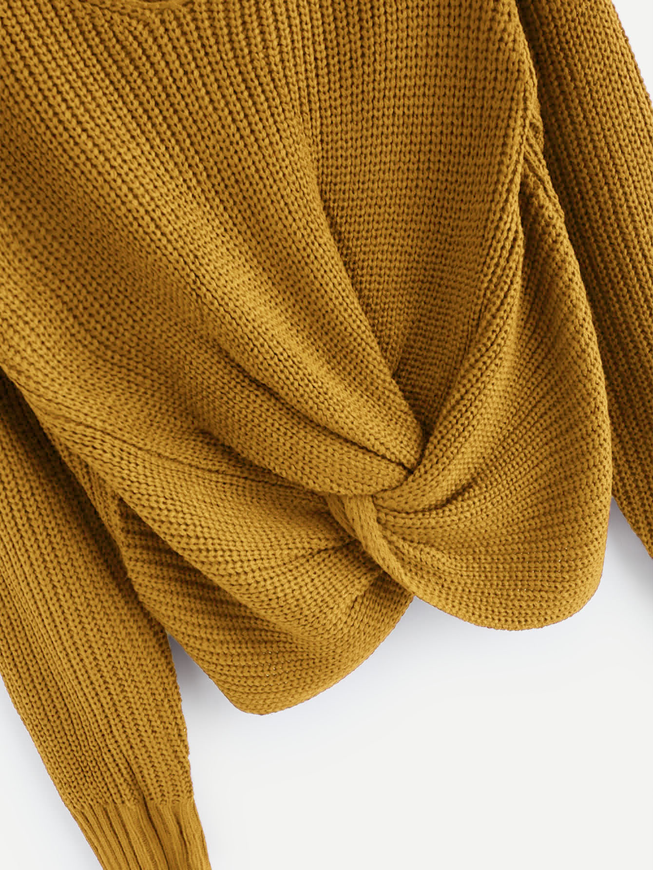 5f4927872d V-neckline Twist Front Chunky Knit Sweater -SheIn(Sheinside)