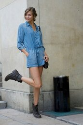 dress,denim,romper,denim dress,long sleeves,shoes