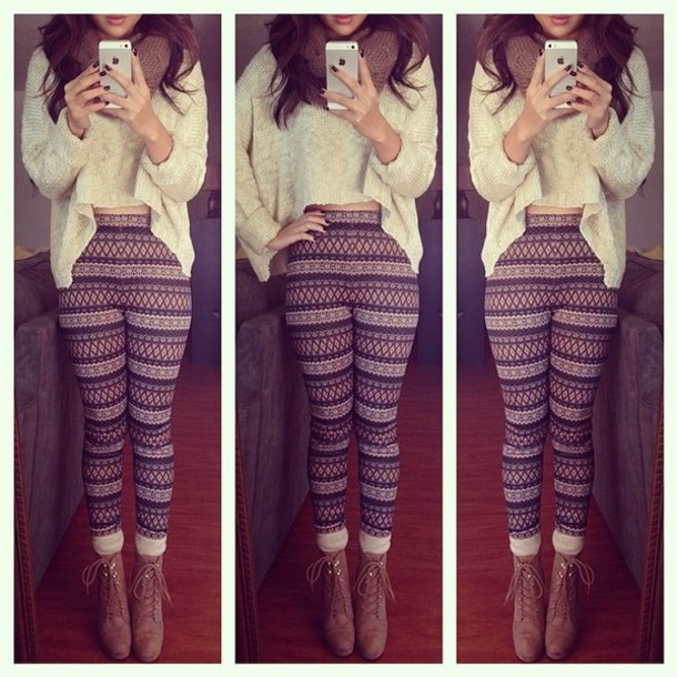 pants geometric patterned pants sweater short at front long at back winter sweater cream sweater knitwear shoes brown high heel ankle boots high heels boots