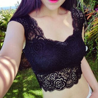 top lace black top ace style sexy rose wholesale summer vintage cropped sexy lingerie chic girly beautiful trendy